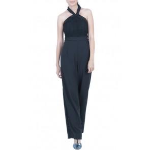Black Lace Sleeveless Jumpsuit