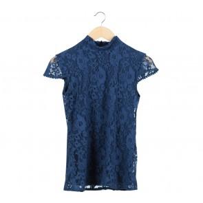 Zara Dark Blue Lace Blouse