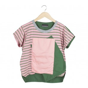 Oline Workrobe Pink And Green Striped Blouse
