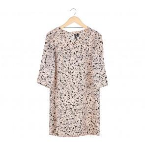 Mango Peach Polka Dot Long Sleeve Midi Dress