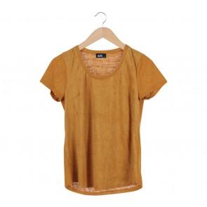 Dotti Yellow Velvet Knitted T-Shirt
