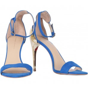 Zara Blue And Gold Combined Ankle Strap Heels