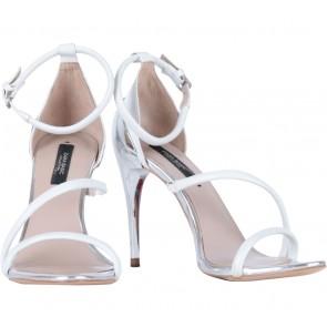 Zara White Ankle Strap Heels