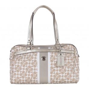 Coach Cream And White Monogram Handbag