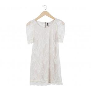 Divided Cream Lace Mini Dress