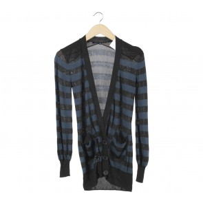 French Connection Dark Blue And Black Striped Cardigan