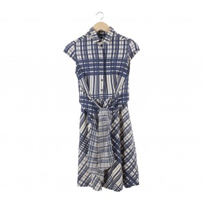 Mango Dark Blue And Cream Midi Dress