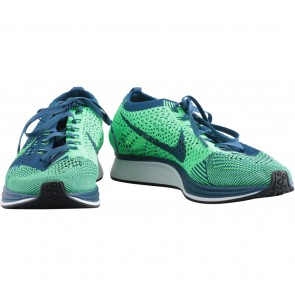 Nike Green And Dark Blue Flyknit Racer Sneakers