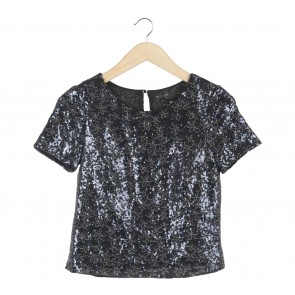Topshop Black And Dark Blue Sequins Blouse
