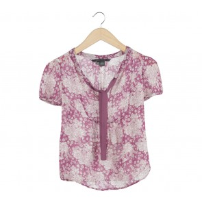 Zara Purple And Cream Floral Blouse