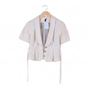Topshop Cream Canvas Blazer