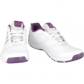 Adidas White And Purple Essential Star II Sneakers