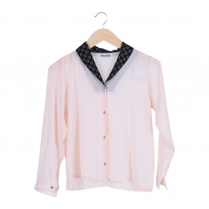 Beso Beso   Peach Dotted Collar Shirt