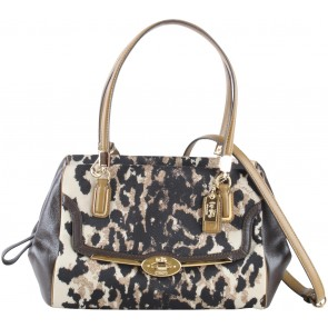 Coach Black And Brown Madison Ocelot Leopard Satchel