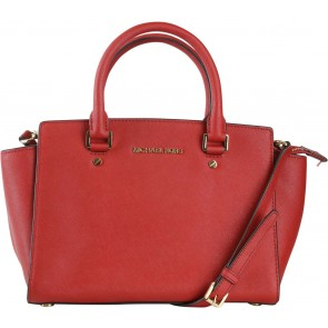 Michael Kors Red Selma Saffiano Satchel