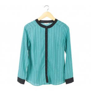 Accent Blue And Black Blouse