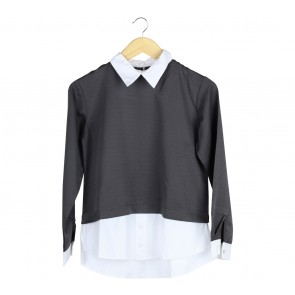 Beatrice Clothing Dark Grey And White Shirt Blouse