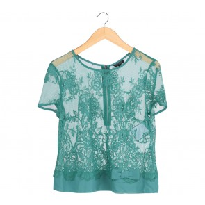Topshop Green Floral Sheer Blouse