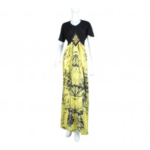 Black And Yellow Beaded Combi Lace Long Dress