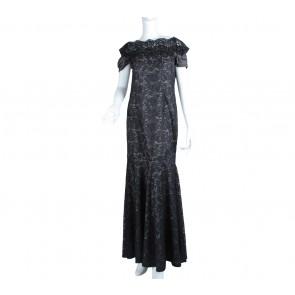 Black Lace Off Shoulder Beaded Long Dress