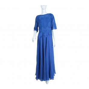 Blue Beaded Combi Lace Long Dress