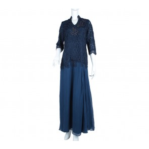 Dark Blue Floral Embroidery Long Dress