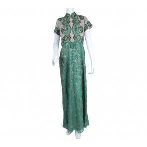 Green And Cream Lace Beaded Long Dress