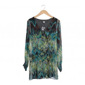 Saks Fifth Avenue Multi Colour Abstract Sheer Insert Blouse