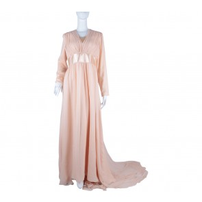 Peach Ruffle Long Dress