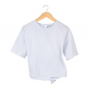 Oudre White And Grey Striped Tied Blouse