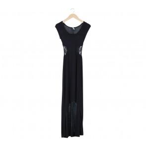 Zara Black Lace Insert Long Dress