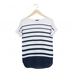 DKNY Blue And White Striped T-Shirt