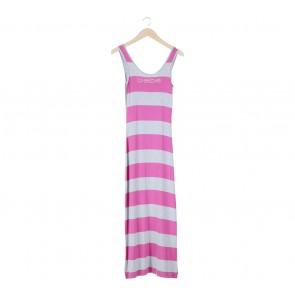 Bebe Grey And Pink Sleeveless Long Dress
