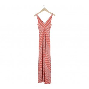 Bebe Orange And Peach Striped Long Dress