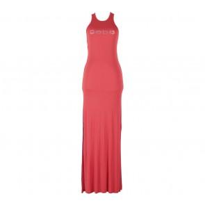 Bebe Red Slit Sleeveless Long Dress