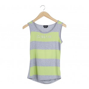 Bebe Grey And Green Striped Back Cut Out Sleeveless