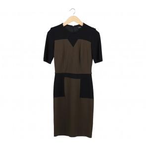 Mango Black And Brown Midi Dress