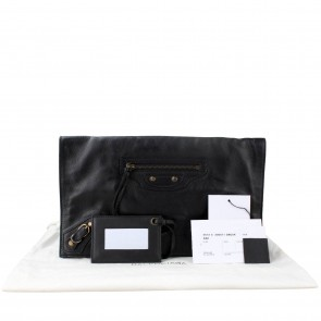Balenciaga Black Papier View Clutch
