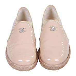 Chanel Beige Patent Espadrilles Loafers