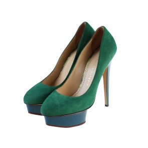 Charlotte Olympia Green Suede Dolly Pump Heels