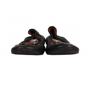 Lanvin Black Leather Rounded Square Accent Flats