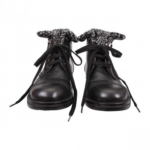 Chanel Black Leather Knit Combat Boots