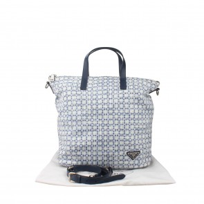 Prada Blue Shopping Checkered Tote Bag