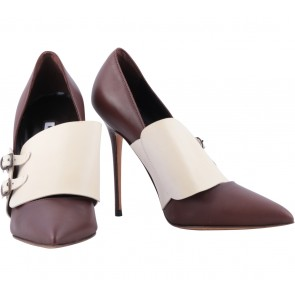 Manolo Blahnik Brown And Cream Heels