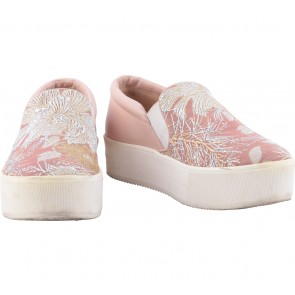 N°21 Pink And Off White Brocade Flats