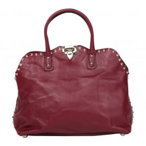 Valentino Maroon Studded Handbag