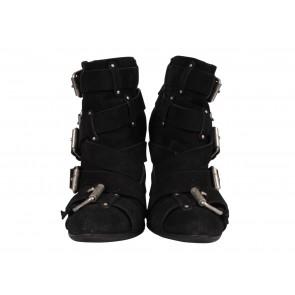 Balmain x Giuseppe Zanotti Black Suede Buckled Boots