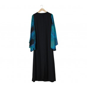 Novierock Black And Blue Abstract Long Dress