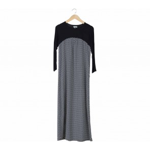 Biye Black And White Patterned Long Dress