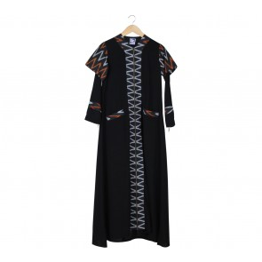 Ummu Balqis Black Combi Long Dress